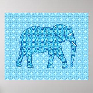 Lotus flower elephant - turquoise poster
