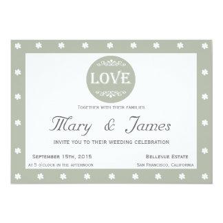 LOVE AND FLOWERS horizontal grey frame 13 Cm X 18 Cm Invitation Card
