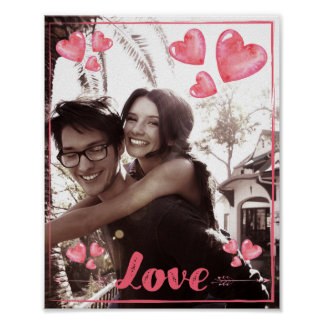 Love And Hearts Poster Add Your Photo Matte 8x10