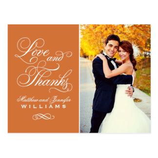 Love and Thanks | Orange Wedding Thank You Postcard