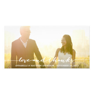 Love and Thanks Script Overlay Wedding Photo Card Template