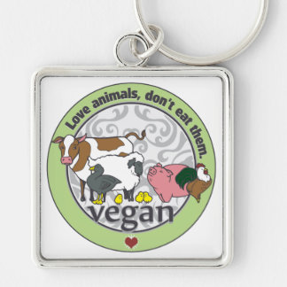 Love Animals Dont Eat Them Vegan Silver-Colored Square Key Ring
