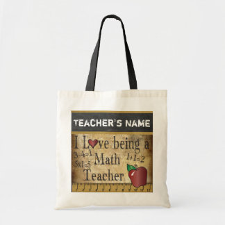 Love Being a Math Teacher | Vintage | DIY Name Budget Tote Bag