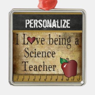 Love being a Science Teacher | Vintage Silver-Colored Square Decoration