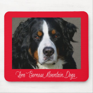 Love Bernese Mountain Dog Puppy Red Mouse Pad
