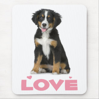 Love Bernese Mountain Puppy Dog Mouse Pad