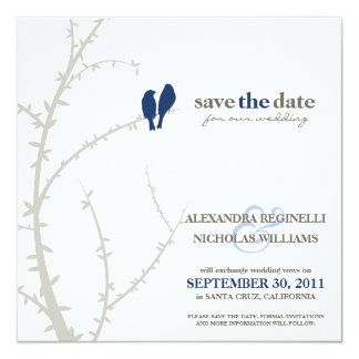 Love Birds Save the Date Announcement (navy)
