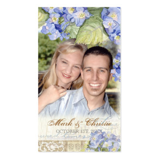 Love & Cherish Blue Hydrangea Floral Wedding Pack Of Standard Business Cards