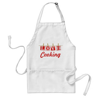 Love Cooking - Red and White Stitched Effect Standard Apron