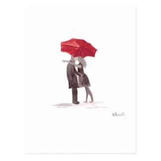 Love couple with red umbrella romantic couple kiss postcard