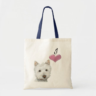 Love Cute Westie Dog Art with 3D Heart Budget Tote Bag