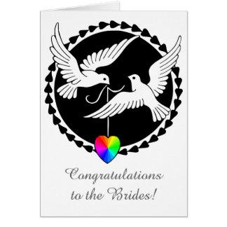 Love Doves Lesbian Wedding Pride Heart Card