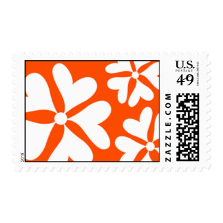 Love Flower Orange and White Postage Stamp
