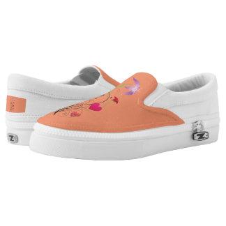 Love Flowers Orange Zipz Slip-On Shoes US-Women