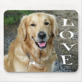 Love Golden Retriever Puppy Dog Mouse Pad