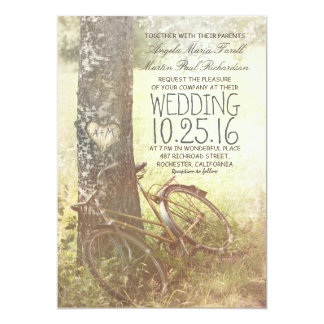 Love heart birch tree and bicycle rustic wedding 13 cm x 18 cm invitation card