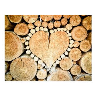 Love, heart, wood mosaic postcard