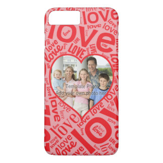 Love heart word art with photo template iPhone 7 plus case