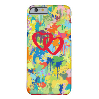 Love Hearts Red Shape Colorful Splash Design Barely There iPhone 6 Case