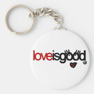 love is good basic round button key ring