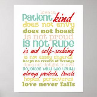 love is patient 1 corinthians 13 poster