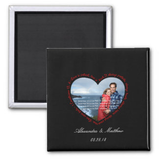Love is Patient Photo Heart Black & Red Square Magnet