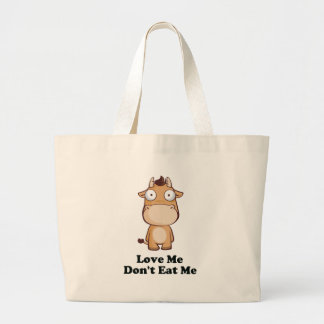 Love Me Don't Eat Me Cow Design Jumbo Tote Bag