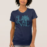 Love-Om-Namaste Racerback Teal & Dark Blue T-shirts