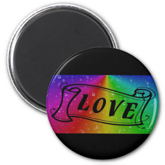 Love on Rainbow in elephant Skin Leather Optic 6 Cm Round Magnet
