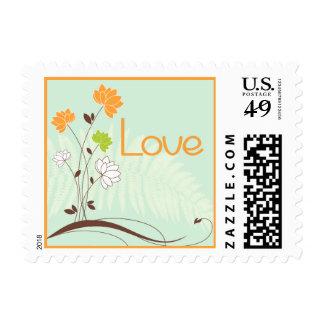 Love Orange Dahlia Flower Mint Green Postage Stamp