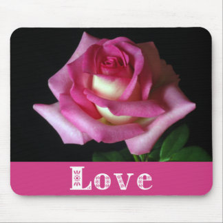 Love Pink Rose Floral Mouse Pad