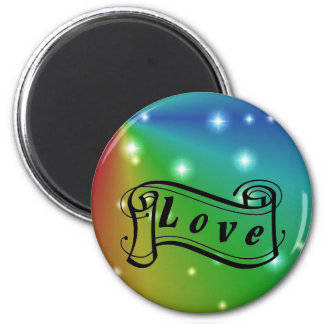 Love scroll on rainbow with stars 6 cm round magnet