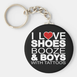 Love Shoes Booze Boys with Tattoos Basic Round Button Key Ring