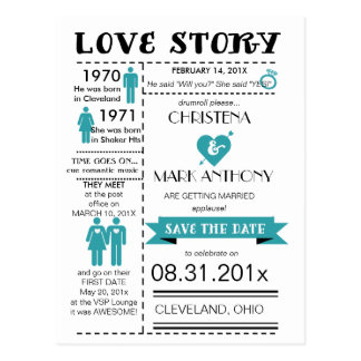 Love Story Save The Date Postcard (Robins Egg)
