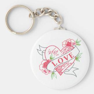 love tattoo basic round button key ring