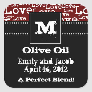 Love Text Olive Oil Favor Tags in Merlot Square Sticker