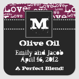 Love Text Olive Oil Favor Tags in Plum Square Sticker