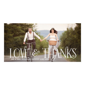Love & Thanks Retro Script Wedding Thank You Card Photo Greeting Card