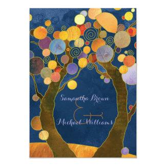 Love Trees Rustic Blue Forest Wedding 13 Cm X 18 Cm Invitation Card