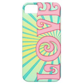 Love Word Art -Blue Sunburst for Iphone iPhone 5 Cover