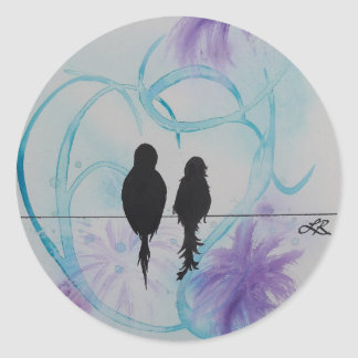 Lovebirds Anniversary Teal and Purple Round Sticker
