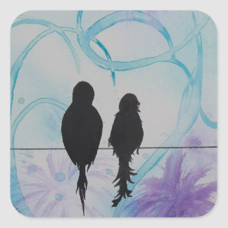 Lovebirds Anniversary Teal and Purple Square Sticker