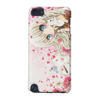 Lovely chibi girl with kawaii white cat iPod touch 5G cover
