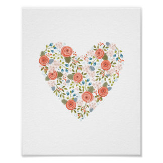Lovely Floral Dream Heart Print