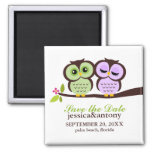 Lovely Owls Save the Date Square Magnet