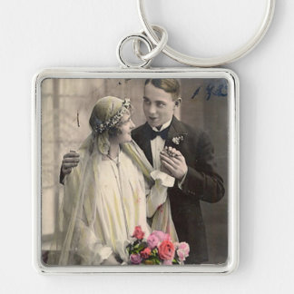 Lovely Vintage Antique Bride and Groom Cards, Gift Silver-Colored Square Key Ring