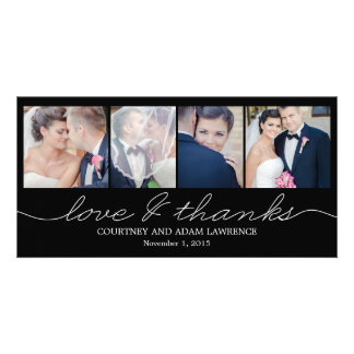Lovely Writing Wedding Thank You Cards - Black Customized Photo Card