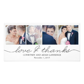 Lovely Writing Wedding Thank You Cards - White Photo Card Template