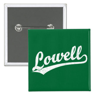 Lowell script logo in white distressed 15 cm square badge