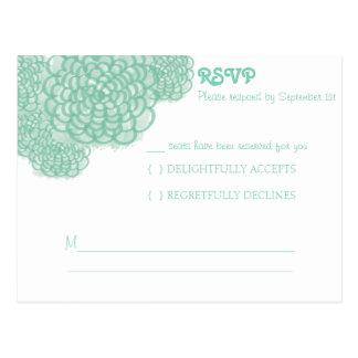 Lucite Green Hydrangea Wedding Response Card Postcard